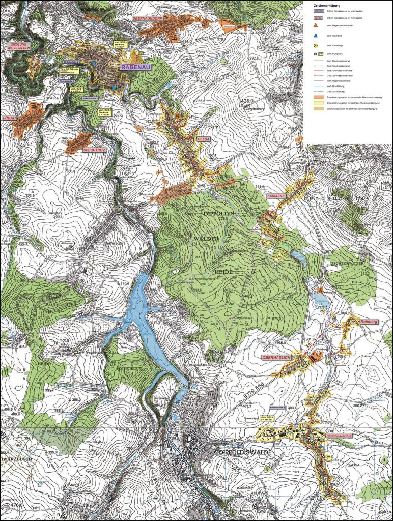 Übersichtsplan der Abwasserzweckverbandes Oelsabachtal